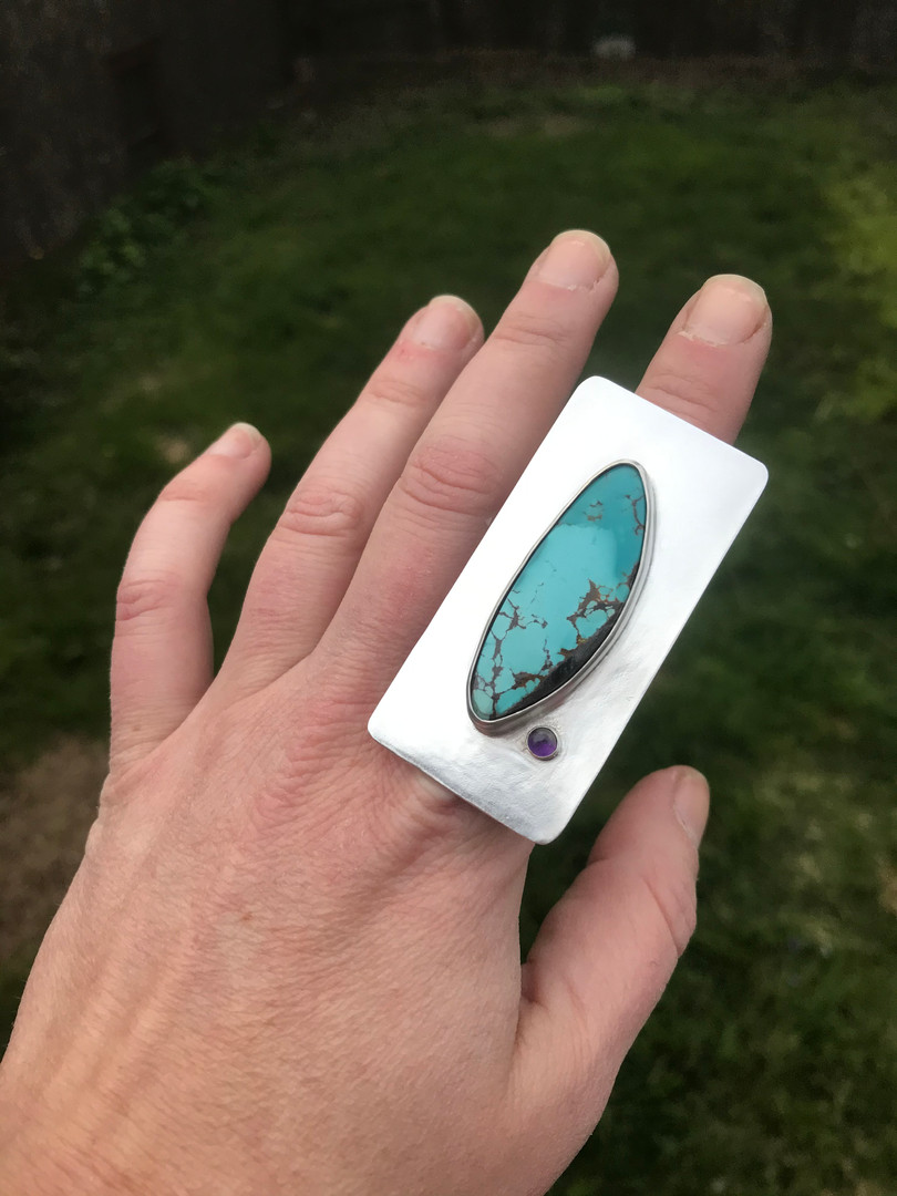 Ring - Statement - Turquoise & Amethyst