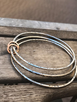 Argentium Silver & Rose Gold Bangle