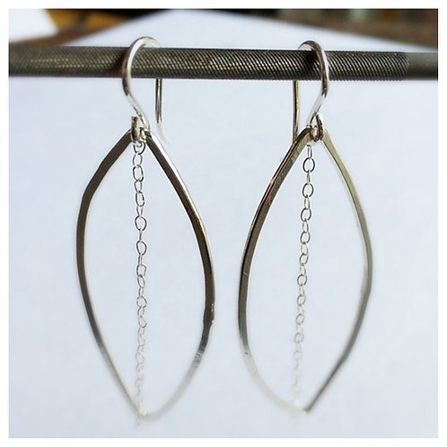 Argentium Silver Oval Earring with Chain