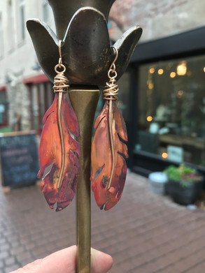 Earrings - Feathers - Copper - Gold Spin