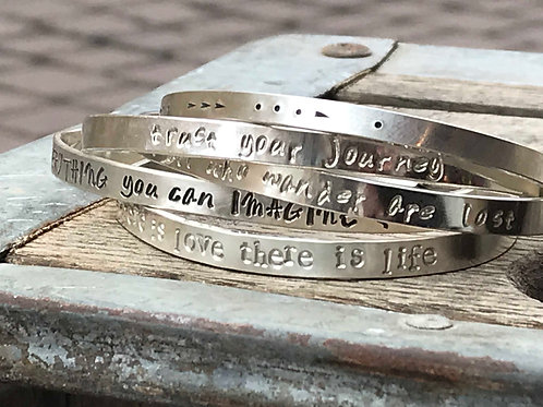 Custom, Personalized Inspiration Silver Bracelet Cuff
