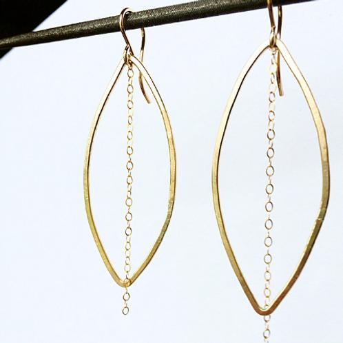 Long Gold Filled Oval Dangle Earrings
