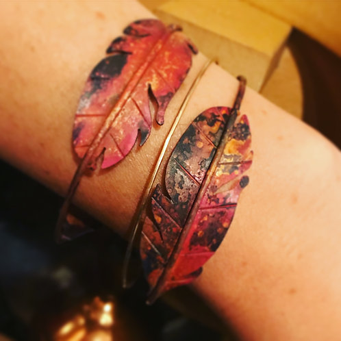 Feather Boho Bracelets and Bangles Made with Copper