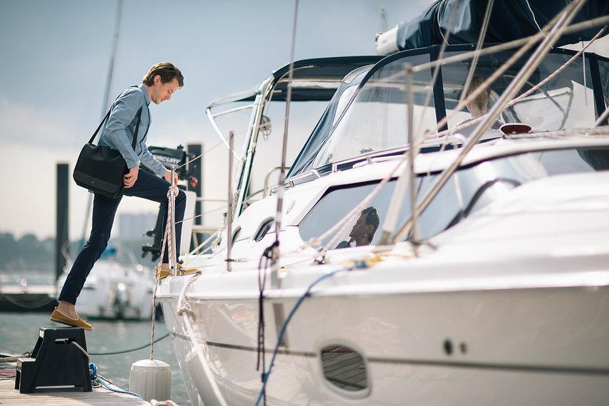 Montblanc Siren Sirencreatives winter agency photography boat man shoes bag sailing