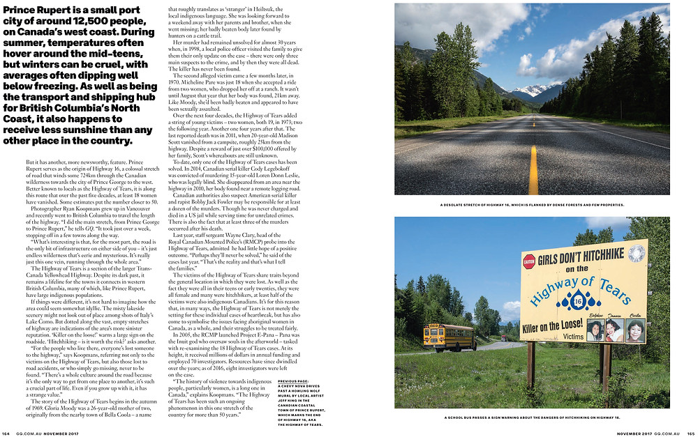 SIREN Creatives GQ Magazine Highway Of Tears Ryan Koopmans