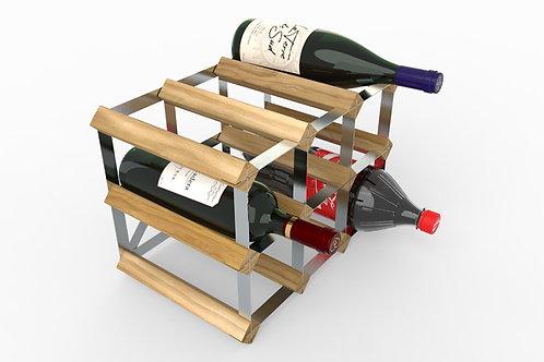 Light Oak & Galvanised Steel Wine Rack