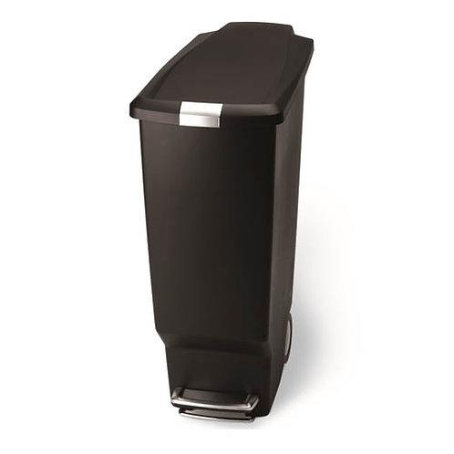 40 Litre Slim Pedal Bin Black Plastic