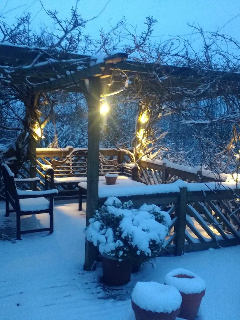 Part of patio deck in winter