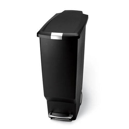 25 Litre Slim Pedal Bin Black Plastic