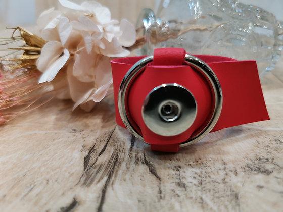Bracelet en simili cuir rouge Bijou Pression