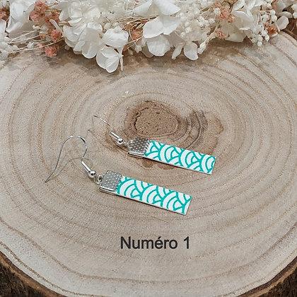 Petite boucle d'oreille plates en papier japonais