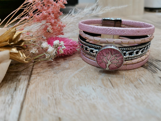 Bracelet en Cuir Rose Bijou Pression