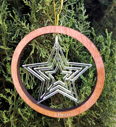 Décoration de Noël Etoile bois et plexi