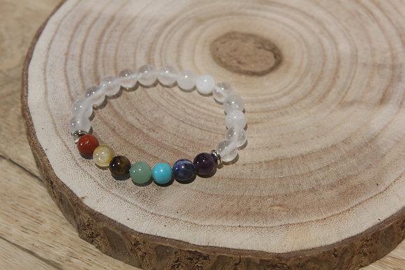 Bracelet Cristal de roche 8mm 7chakras