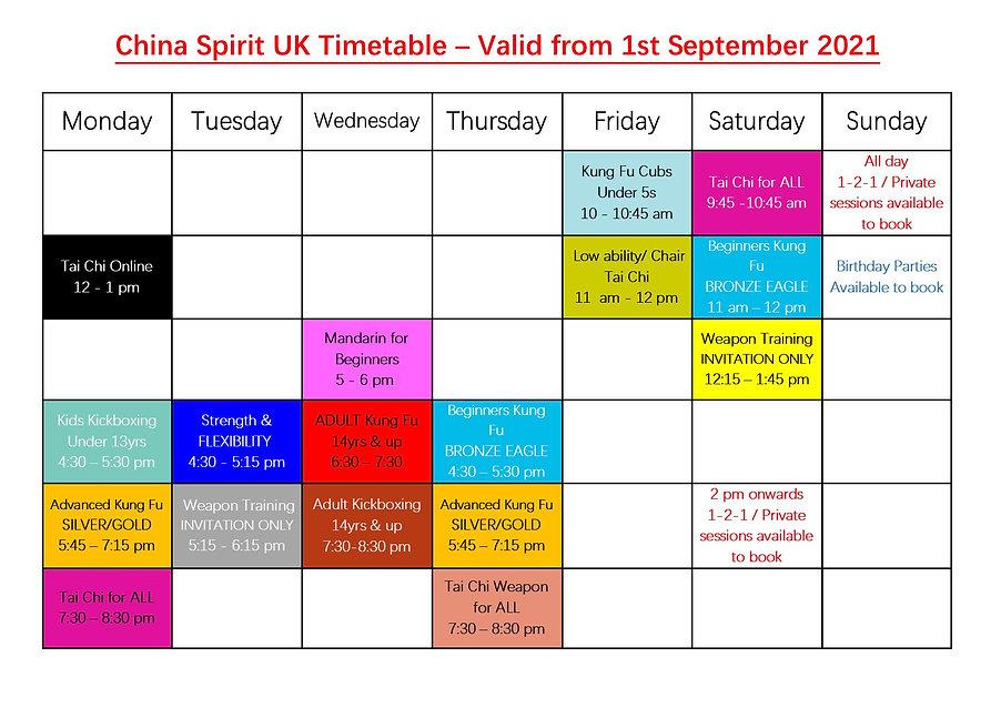 China Spirit UK new timetable, valid from 1st September 2021