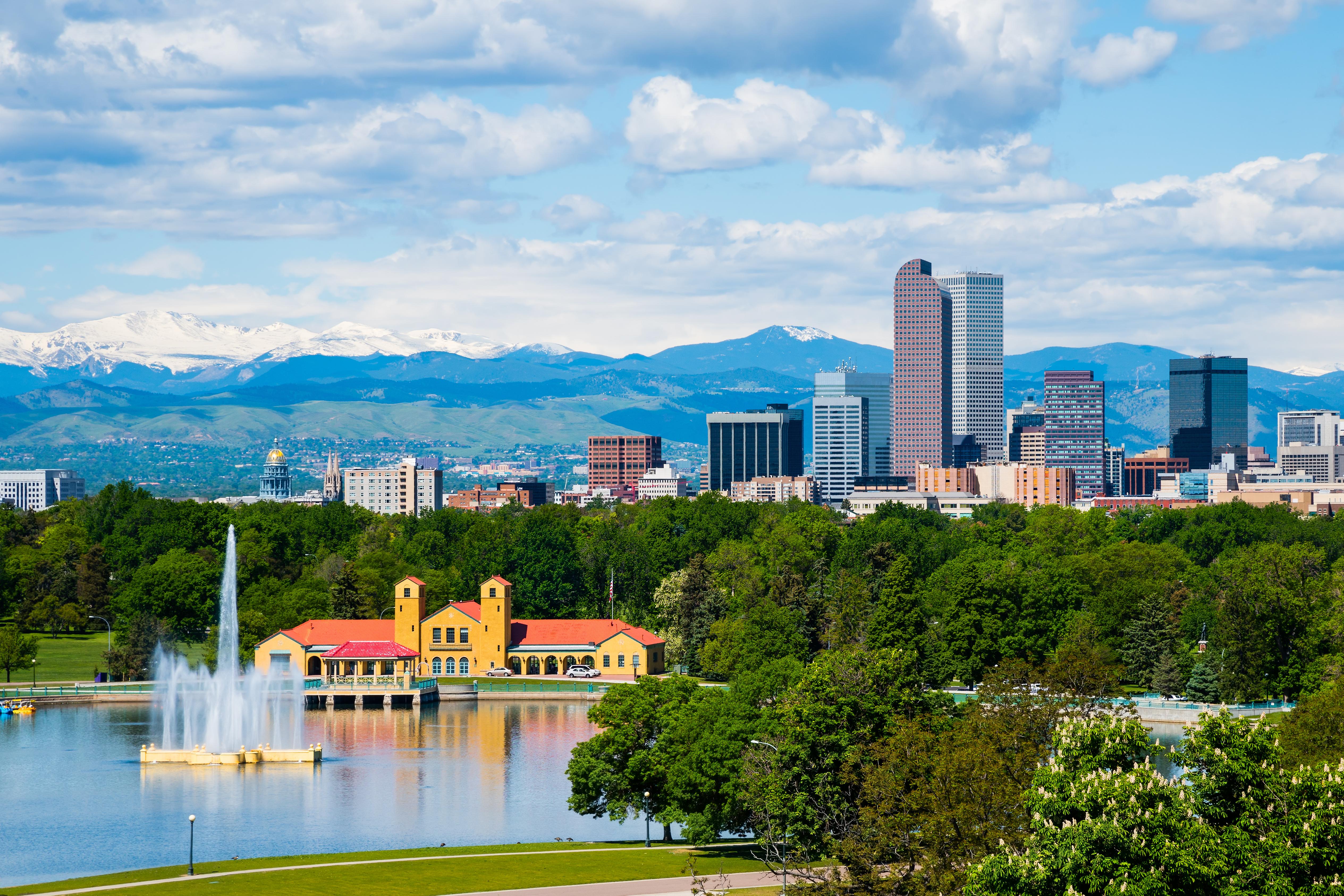 Denver Colorado downtown with City Park.