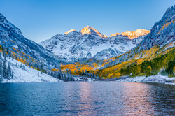 Maroon bells at sunrise, Aspen, CO.