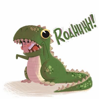 Chico vestido de dinossauro