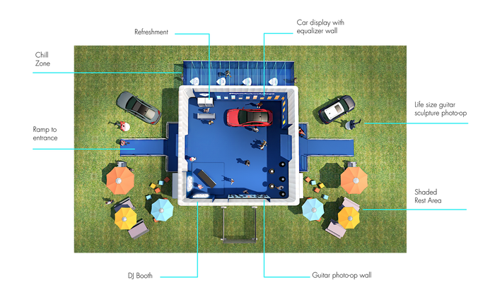 3D Floor Plan of space from top view.