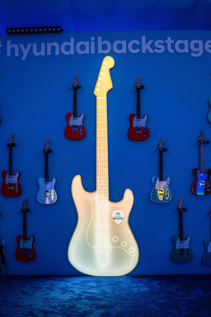 Light-up guitar photo-op.