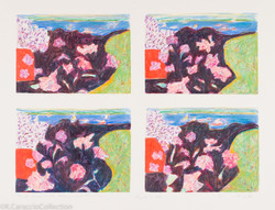 Beach Scene with Flowers and Pine Trees, 1981