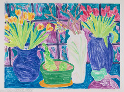 Two Pots of Tulips with Cactus, 1983