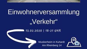 """Einwohnerversammlung """"Verkehr"""" am 13. Februar um 18 Uhr im Musikerheim"""
