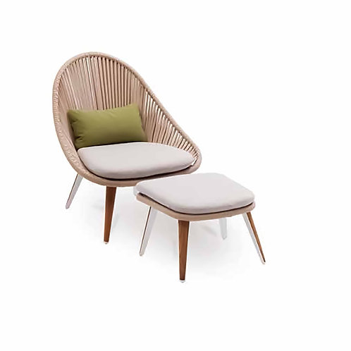 Dino Lounge Chair Vertical Rope Teak Leg