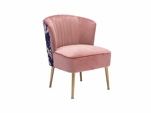 Tina Accent Chair Pink, Gold & Foliage Print