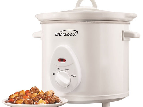 Brentwood SC-135W 3 Quart Slow Cooker, White