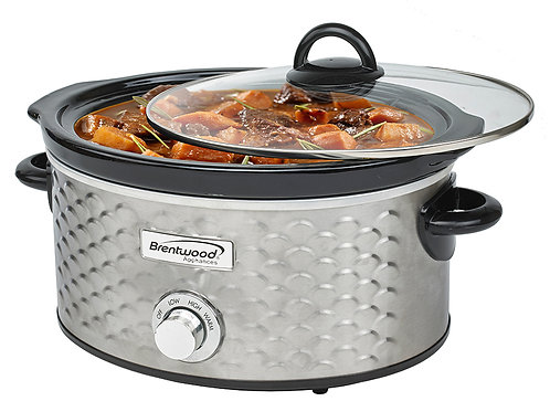 Brentwood SC-140S Scallop Pattern 4.5 Quart Slow Cooker, Stainless Steel