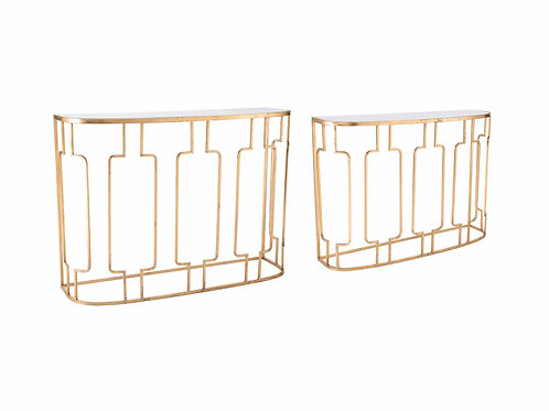 Set of 2 Roma Console Tables Gold