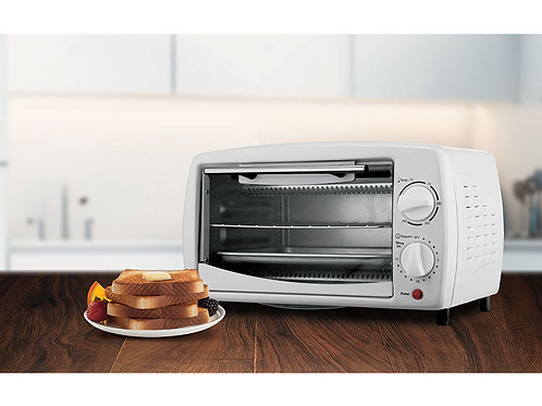 Brentwood TS-345W Stainless Steel 4 Slice Toaster Oven, White