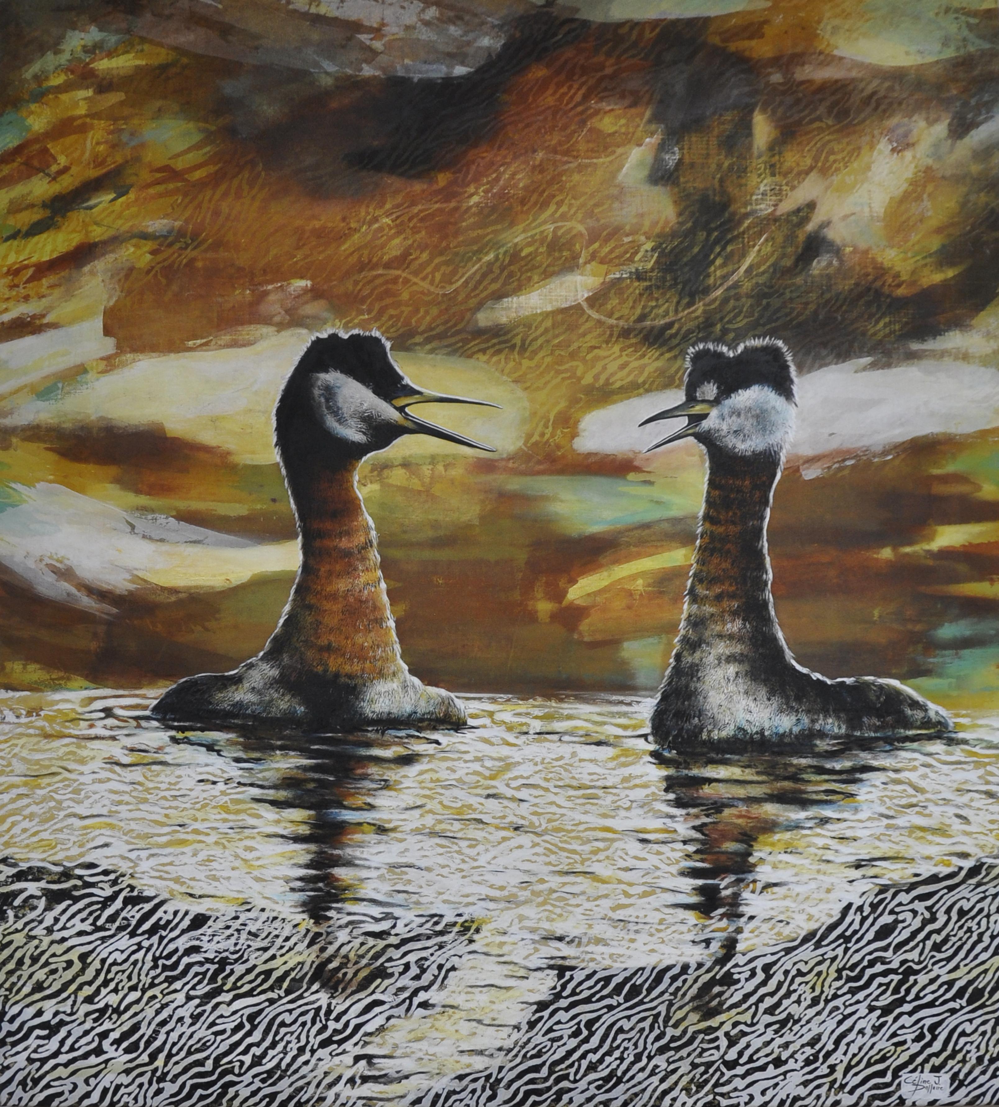 Rencontre au lac Osisko, sérigraphie, linogravure et acrylique
