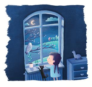 """Das Fenster - Illustration aus dem Buch """"Das Lied des Rotkehlchens"""""""