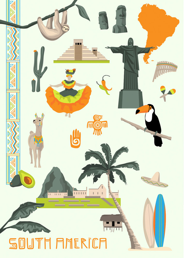South America -Ein Plakat, welches im Zuge meines Praktikums bei Kraenk Visuell GmbH als freies Projekt entstanden ist.