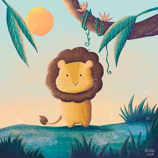 Kleiner Löwe im Morgengrauen
