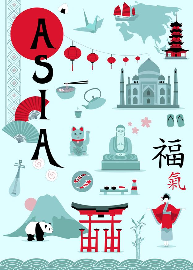 Asia - Ein Plakat, welches im Zuge meines Praktikums bei Kraenk Visuell GmbH als freies Projekt entstanden ist.