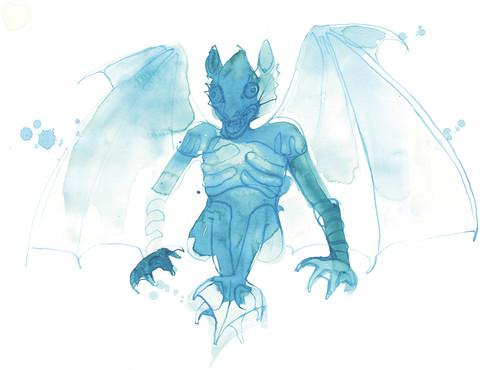 Illustrations for ÅRHUS THEATER, decoration for the staff entrance. Blue devil