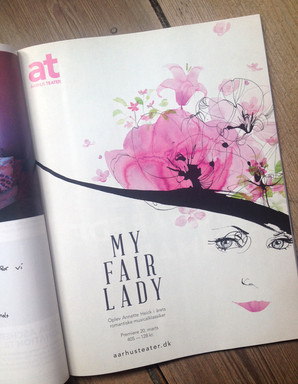 """Advertising for MY FAIR LADY at Aarhus Theater, whole page """" Ud og se"""""""