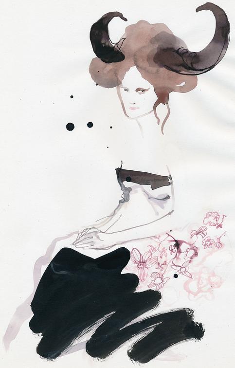 Original til udstilling i CMYK kld. Tush, blæk og akvarel
