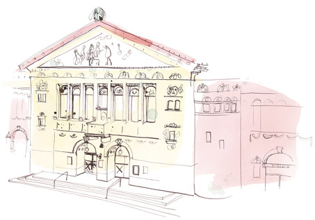 Illustrations for ÅRHUS THEATER. Different illustrations for publications, Showing the beautiful theater with the unique decorations and beautiful atmosphere from the Art Deco period.