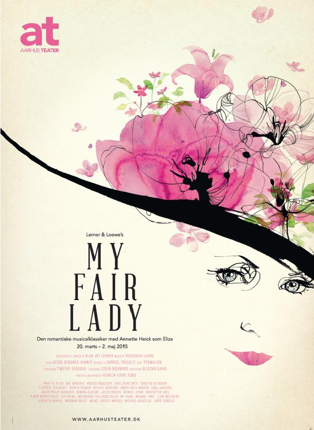 Poster Illustration, MY FAIR LADY. Aarhus Theater, 2015.