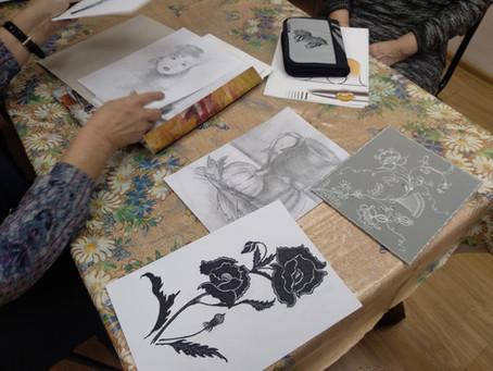 """Студия живописи для людей старшего поколения в ГБУ """"Заря"""". Академический рисунок."""
