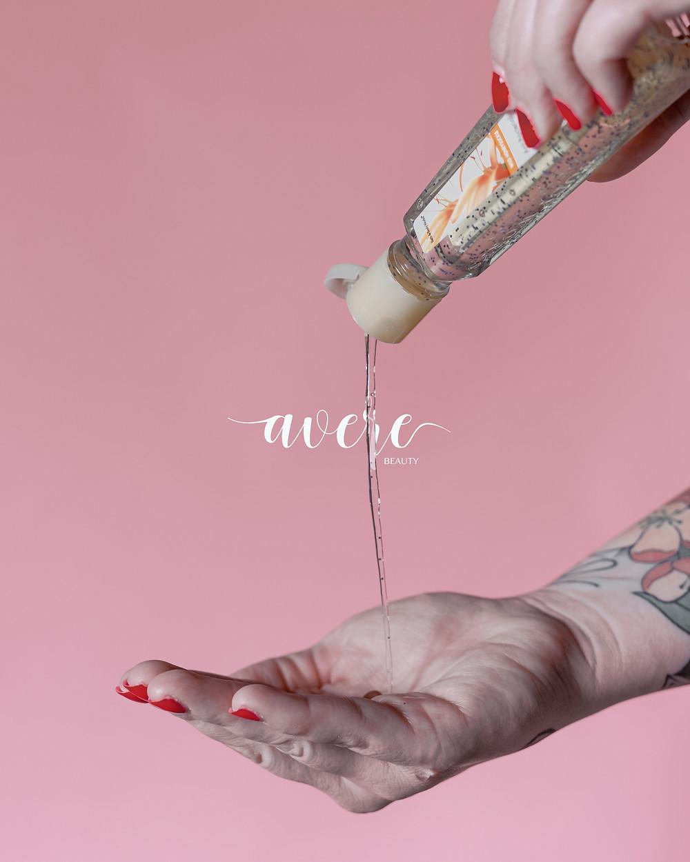 Avere Beauty using hand sanitizer amidst the coronavirus outbreak in Pittsburgh