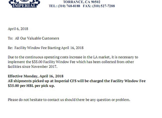 CFS Warehouse Facility Window Fee, Effective April 16th, 2018