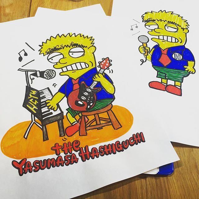 22までだって!_(手前のイラスト。目の上は本人にプレゼントする時に塗りました(笑)奥は当時のボツ作品。) #HGYM #橋口靖正 #thesimpsons #ルナコムロ