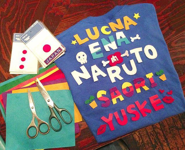 #ルナコムロワークス_2014年のW杯⚽️日本代表戦の時に着るオブライトカフェスタッフTシャツ。_各自の名前とかは全部フェルトで、何枚も重ねて貼ったり切ったり貼ったり✂_#orblightcafe #