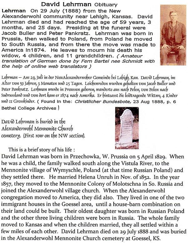 David Lehrman obit 1888 | Goessel Museum