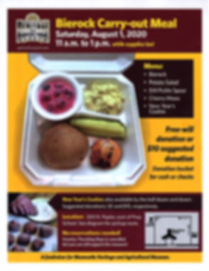 Bierock Carry-out Meal Aug. 1, 2020